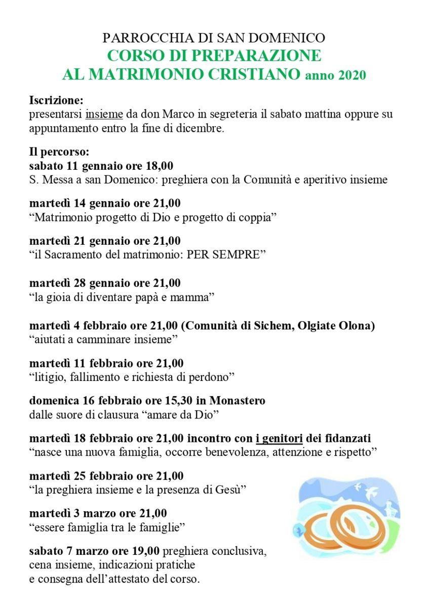 Calendario Pastorale 2020.Parrocchia San Domenico Legnano Corso Di Preparazione Al